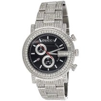 e45b590b527 Gucci G-Chrono Steel 44mm Black. Gucci Mens Ya101309 Custom Diamond Gucci  G-Watch Black Dial.