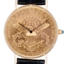 Corum Coin Watch Жёлтое золото 35mm Чёрный