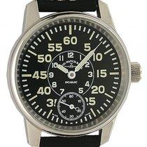 Zeno-Watch Basel Observer Stahl Handaufzug Armband Leder 40mm...