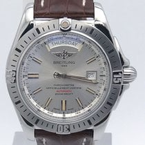 Breitling Galactic Day Date Uber Sporty A45320 Silver Dial On...
