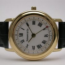 Tiffany & Co M193 18k Gold Black Leather Strap Mens Watch