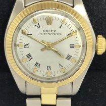 Rolex Oyster Perpetual 26 Acero y oro 26mm Plata Sin cifras