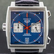 TAG Heuer Monaco Calibre 11 pre-owned 39mm Blue Chronograph Date Leather