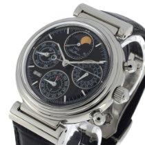 IWC Da Vinci Perpetual Calendar gebraucht 39mm Schwarz Mondphase Chronograph Datum Wochentagsanzeige Monatsanzeige Jahresanzeige Ewiger Kalender Leder