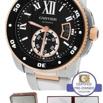 Cartier Diver 18K Two Tone Rose Gold Black 42mm Watch W7100054...