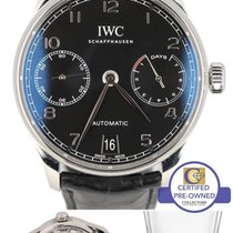 IWC 2015 Men's IWC Portuguese Black 7-Day Stainless Automatic...