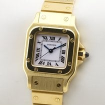 Cartier Yellow gold Automatic White Roman numerals 24mm pre-owned Santos Galbée