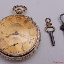 Antique Fusee 18k Yellow Gold Key Wind Key Set Pocket Watch...