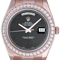 Rolex Day-Date II Ruzicasto zlato 41mm Crn Arapski brojevi