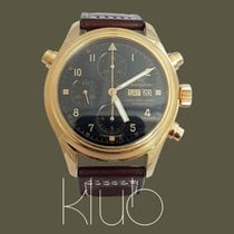IWC Yellow gold Automatic Black Arabic numerals 42mm pre-owned Pilot Double Chronograph