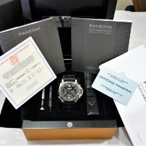 Panerai Luminor 1950 3 Days Chrono Flyback pre-owned 44mm Black Chronograph Double chronograph Tachymeter Crocodile skin