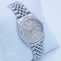 Rolex Datejust 16220  white gold brown stripe dial 36mm