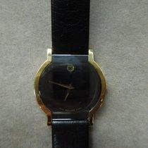 Movado usados Cuarzo 24mm Negro Cristal mineral 3 ATM