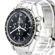 Omega Black Stainless Steel Speedmaster Moonwatch Watch