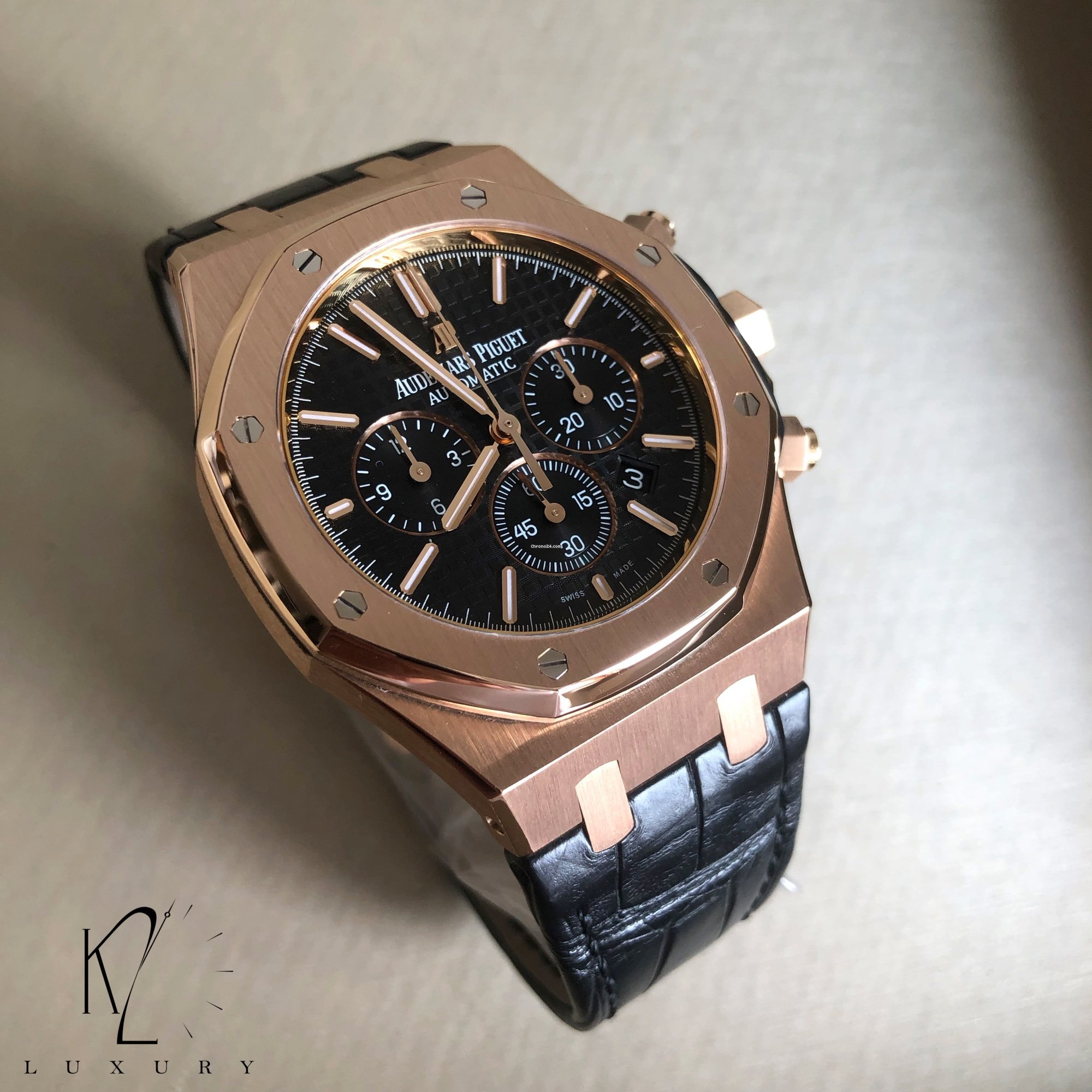 Audemars Piguet Royal Oak Chronograph In Rose Gold With Black For