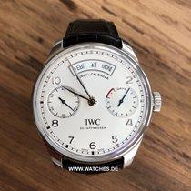IWC Portuguese Annual Calendar pre-owned 44.2mm Silver Leather