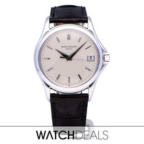 Patek Philippe Calatrava White gold 37mm Silver No numerals