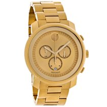 Movado Bold Mens Gold Tone Swiss Chronograph Quartz Watch 3600278