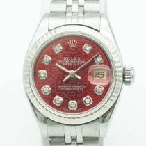 Rolex Datejust 26mm White Gold Bezel Red Jubilee Diamond Dial