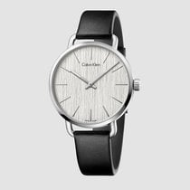 ck Calvin Klein Ladies K7B211C6 Even Silver Dial Leather Strap...