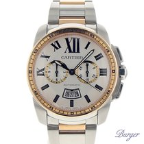 Cartier Calibre de Cartier Chronograph tweedehands 42mm Goud/Staal