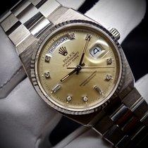 Rolex Bjelo zlato Kvarc Srebro 36mm rabljen Day-Date Oysterquartz