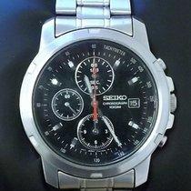 Seiko Chronograph 40mm Quarz gebraucht Schwarz