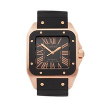 Cartier Santos 100 Rose gold 38mm Black Roman numerals