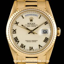 Rolex 18k Yellow Gold Cream Enamel Dial Day-Date Gents  18238