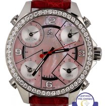 5313e989361bca Jacob   Co. Five Time Zone pre-owned 41mm Pink Leather