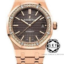 Audemars Piguet Royal Oak Lady Roséguld 37mm Brun Inga siffror