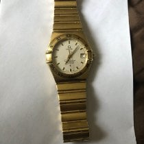 Omega Constellation pre-owned 35.5mm White Date Yellow gold