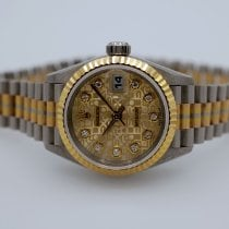 Rolex Lady-Datejust Witgoud 26mm Champagne Geen cijfers