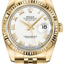 Rolex Datejust Geelgoud 36mm Wit