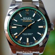 Rolex Milgauss Stainless Steel Black Dial Green Crystal 40mm...