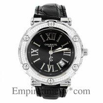 Charriol Geneve Rotonde Rt38 Diamond Bezel Black Dial Leather...