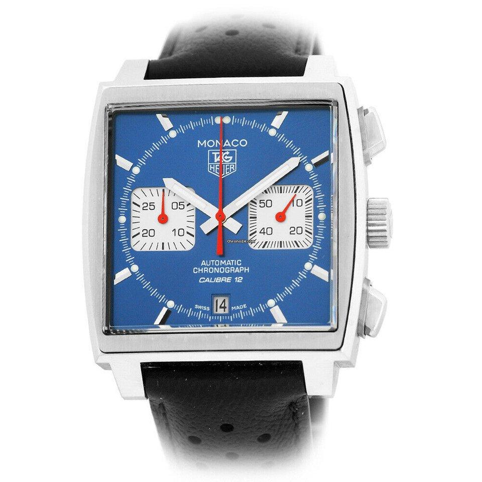 TAG Heuer Stainless Steel Monaco Chronograph Blue CAW2111 FC6183 Box  Warranty