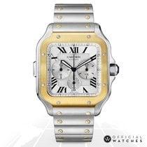 Cartier Santos (submodel) Золото/Cталь 43mm Белый Римские