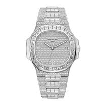 Patek Philippe Nautilus White Gold Fully Diamonds Set Watch