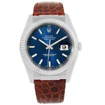 Rolex Datejust 18k White Gold Blue Dial Mens Watch 116139 Box...
