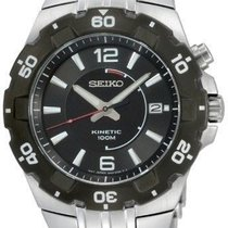 Seiko Kinetic Stainless Steel Black Dial 100M Analog Sports...