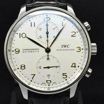 IWC Portuguese Chronograph подержанные Белый Хронограф Кожа аллигатора