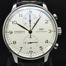 IWC Portuguese Chronograph Сталь Белый Aрабские