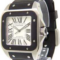 Cartier Santos 100 pre-owned 42mm Silver Rubber