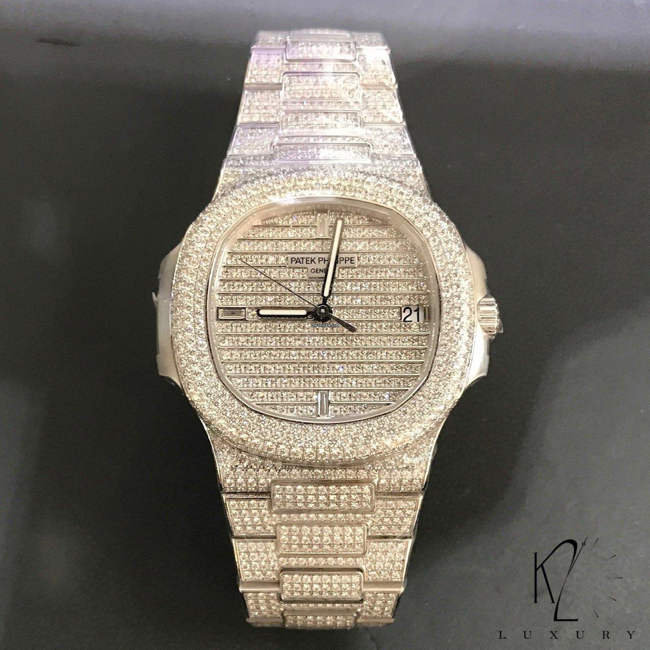 rencontrer 562b7 32dbe Patek Philippe 5719/1G Nautilus white gold diamond paved