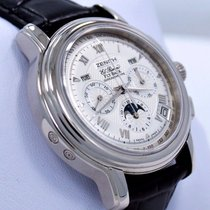 Zenith El Primero Chronomaster pre-owned 42mm Silver Moon phase Chronograph Flyback Date Month Annual calendar Leather