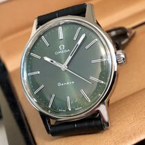 Omega Geneve Green Dial 1960s mens vintage mechanical watch + Box