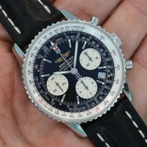 Breitling Navitimer Black Stainless Steel Leather Strap A23322...