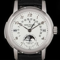 Patek Philippe 37mm Manual winding 2005 pre-owned Minute Repeater Perpetual Calendar Silver