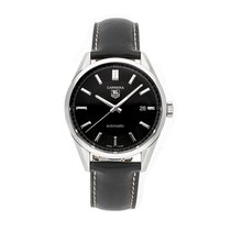 TAG Heuer Carrera Calibre 5 pre-owned 38.5mm Black Date Leather